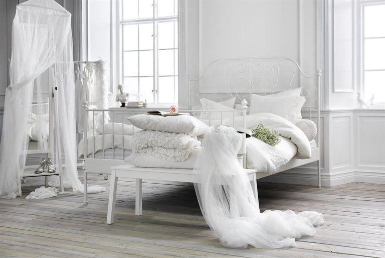 LEIRVIK queen bed frame $99.99 Slatted bed base and mattress sold ...