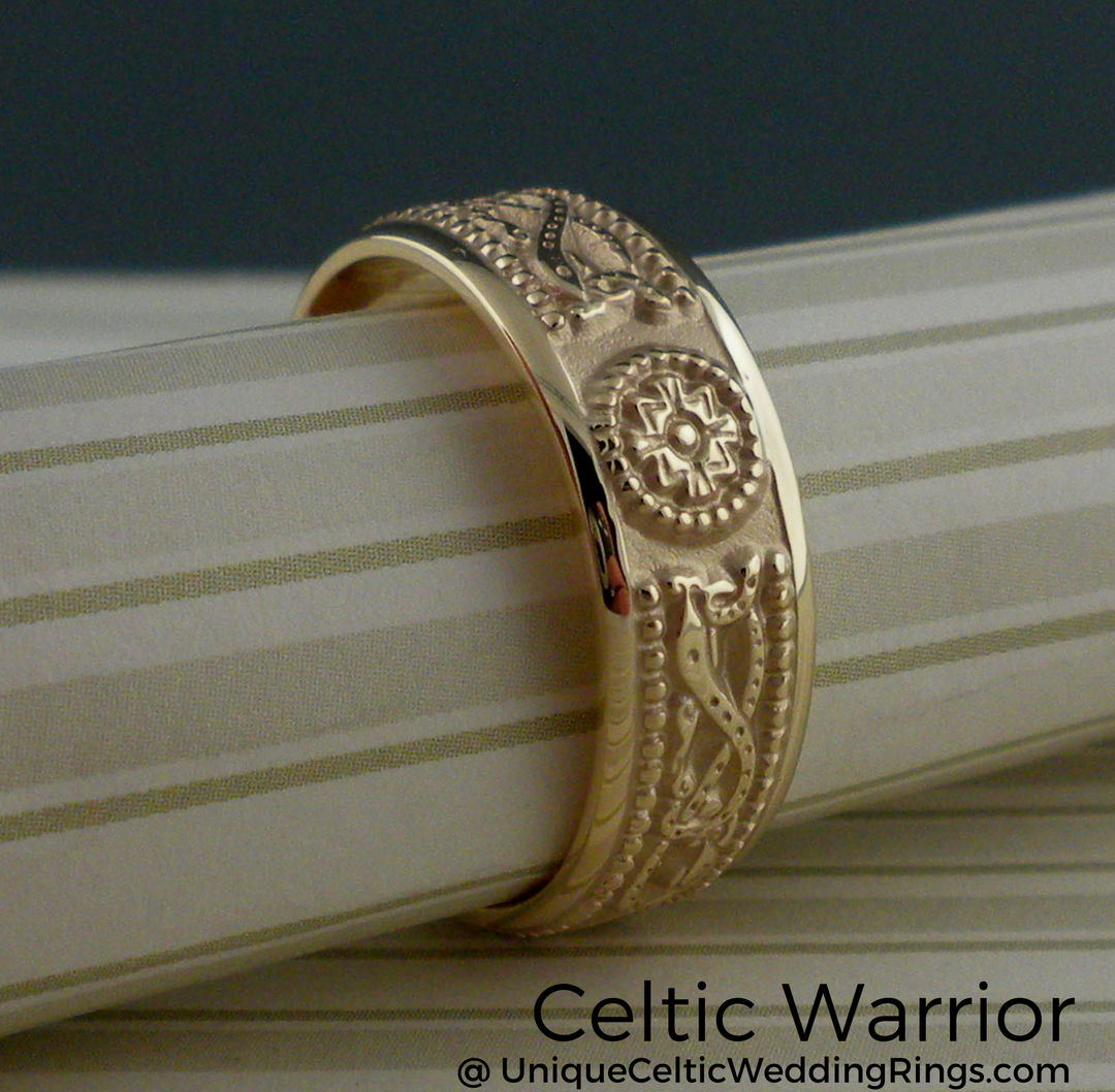 Celtic Shield Wedding Band. 6.1 Mm Ladies And 7.3