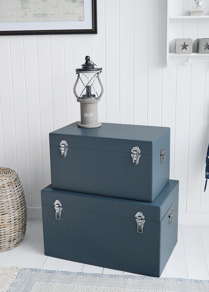 Newbury Blue Grey Storage Trunks The White Lighthouse Furniture