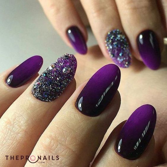 Shining Purple Is Kinda Cute Dark Purple Shining Inspiration Nails Violet Nails Purple Nail Art Nail Art Wedding