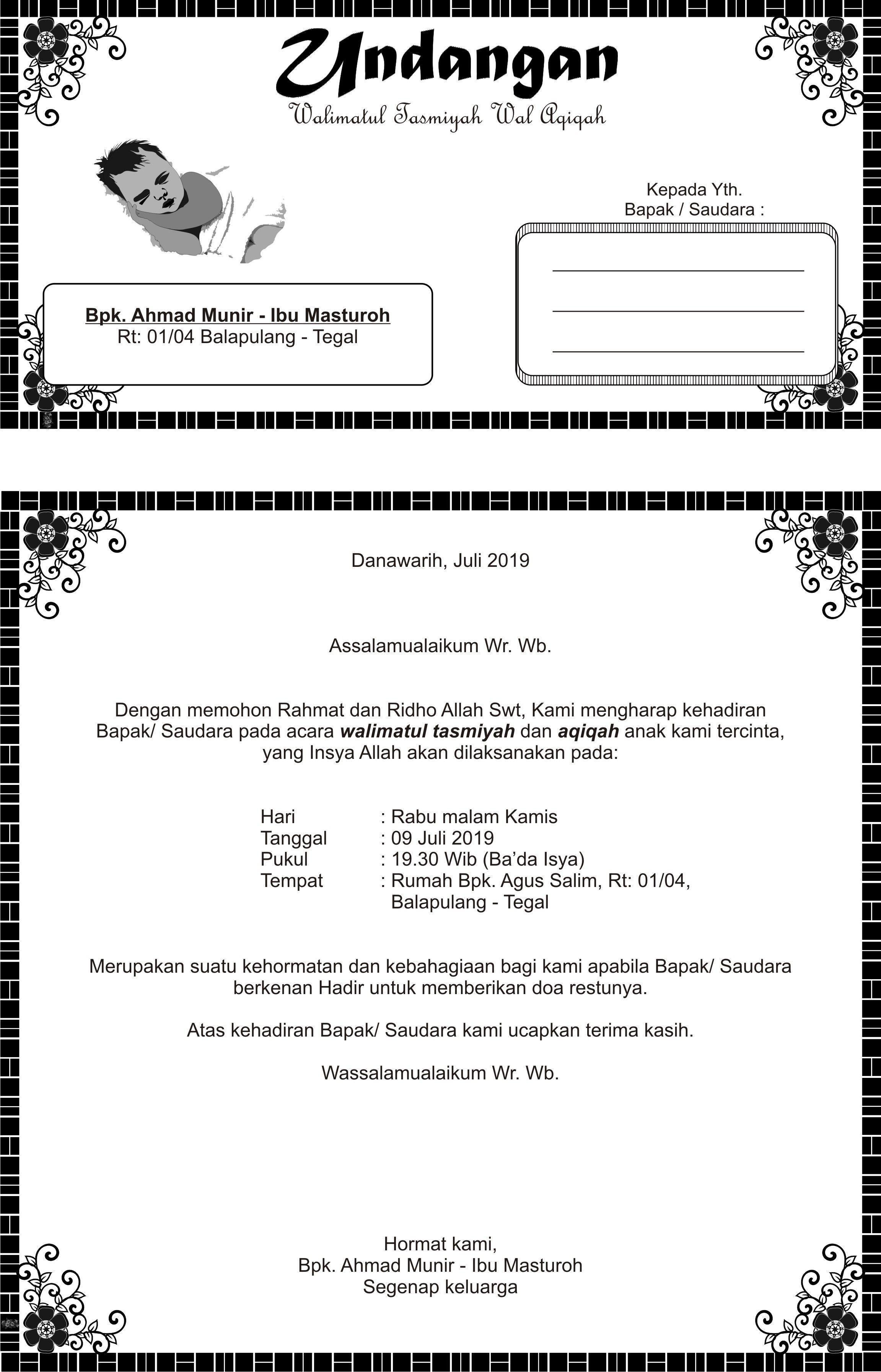 Undangan walimatul tasmiyah dan aqiqah ahmad munir   Dan