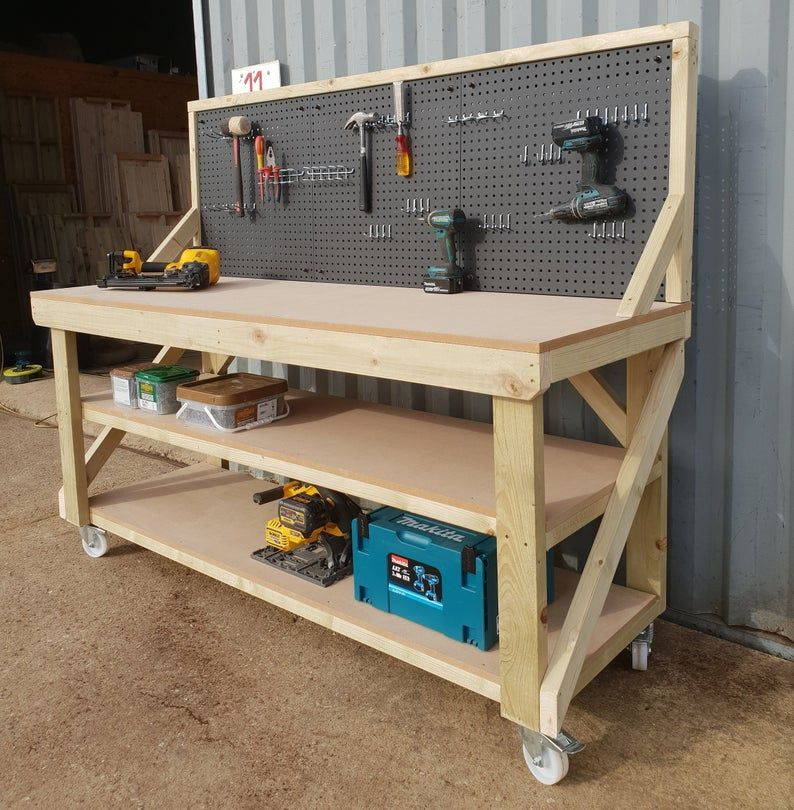 MDF WorkBench With Peg Board And Two Shelfs 4FT-6F