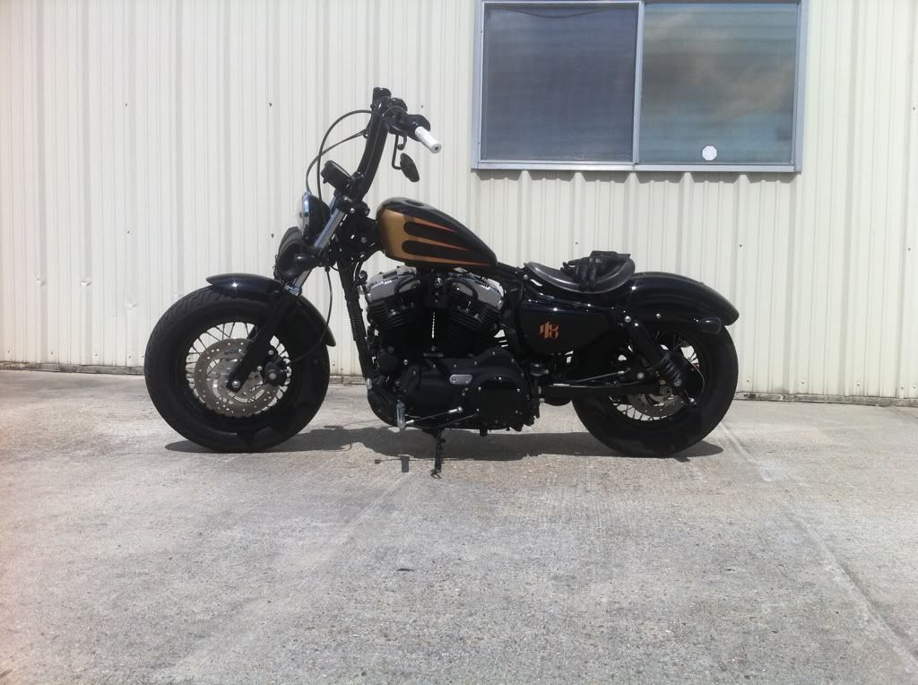 Harley 48 Air Shocks and Apes sweet Harley bikes