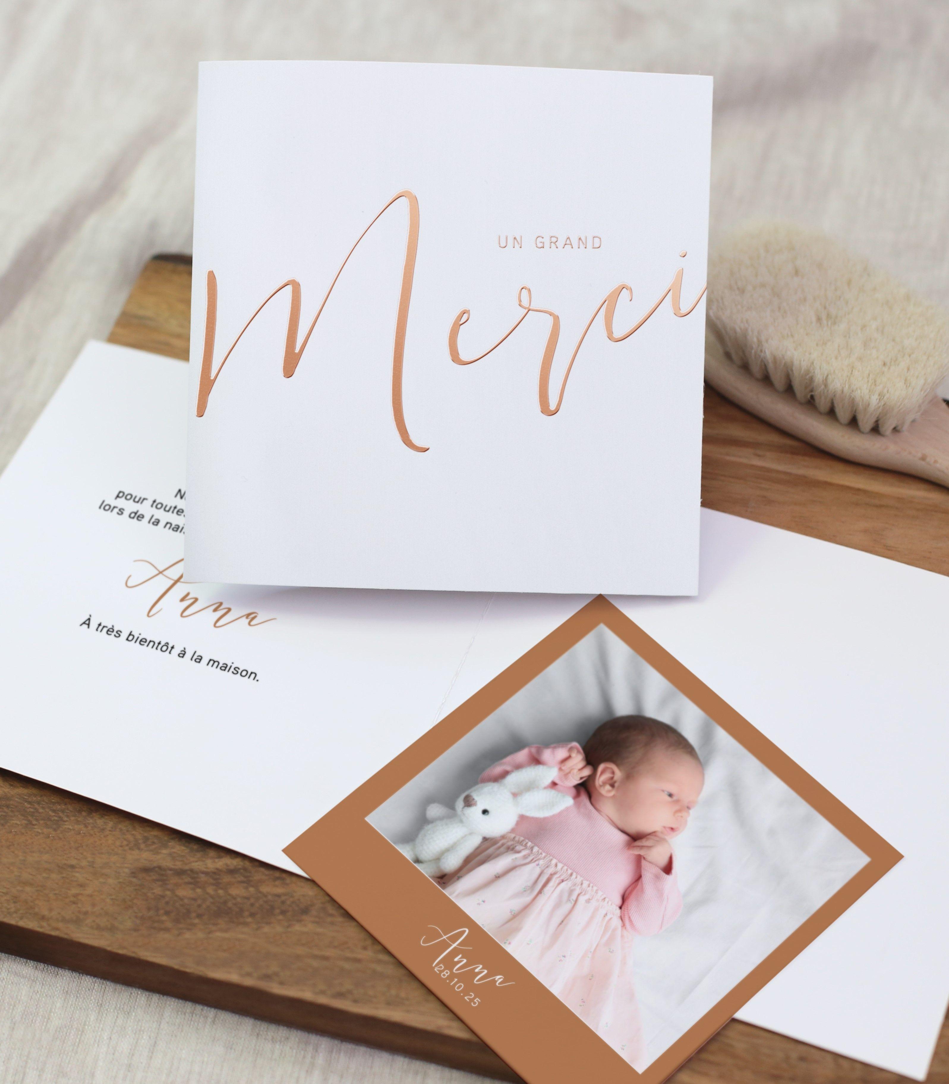 Belle Carte de remerciement Polaroïd | Carte remerciement naissance VV-75
