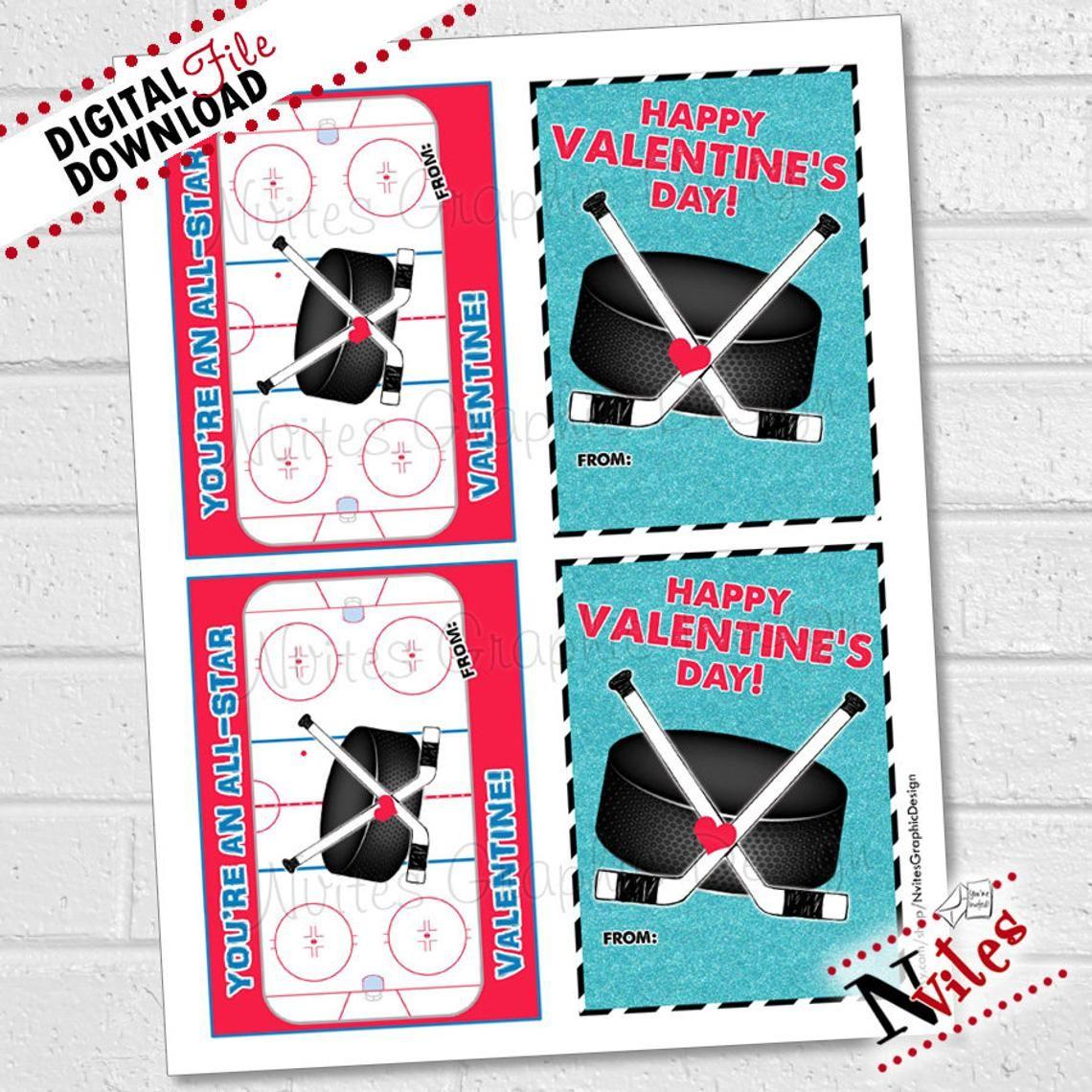 Hockey Valentines Kids Hockey Valentine Cards Sport