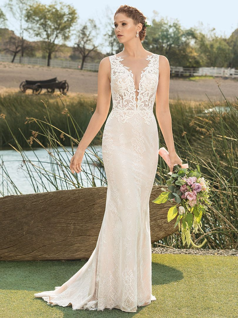 27a48e7fe3613 STYLE BL268 PIPPA | Affordable Wedding Dress by Beloved by Casablanca Bridal  | Delicate Chantilly lace fans out in a scalloped, chapel length train on  Pippa ...