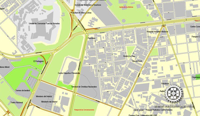La Habana Cuba calle vectorial imprimible mapa Plan de la ciudad