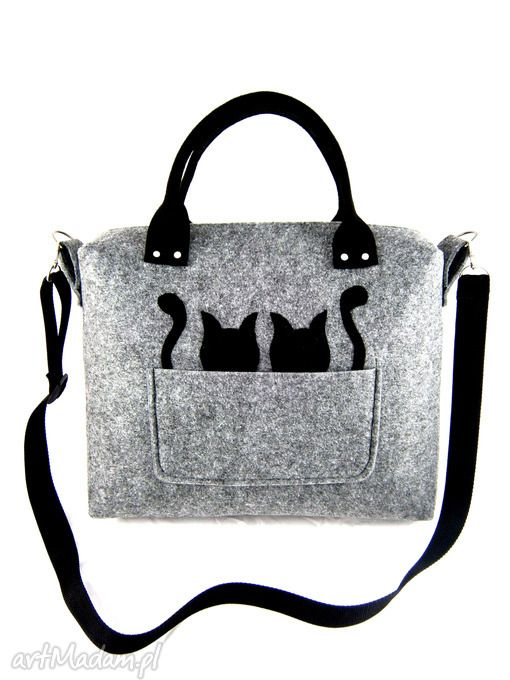 52b333a375e Grey & black cats/strap | craft | Cat bag, Bags, Tote purse