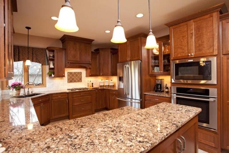 Cherry cabinets cambria quartz counters with some dark for Cambrian kitchen cabinets