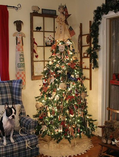 A Countryfolk Keepsakes Christmas With Stella 3 Christmas Tree Themes Christmas Tree Decorations Primitive Christmas