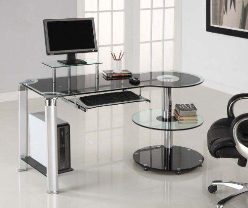 black glass u0026 chrome modern computer desk workstation by innovex httpwww