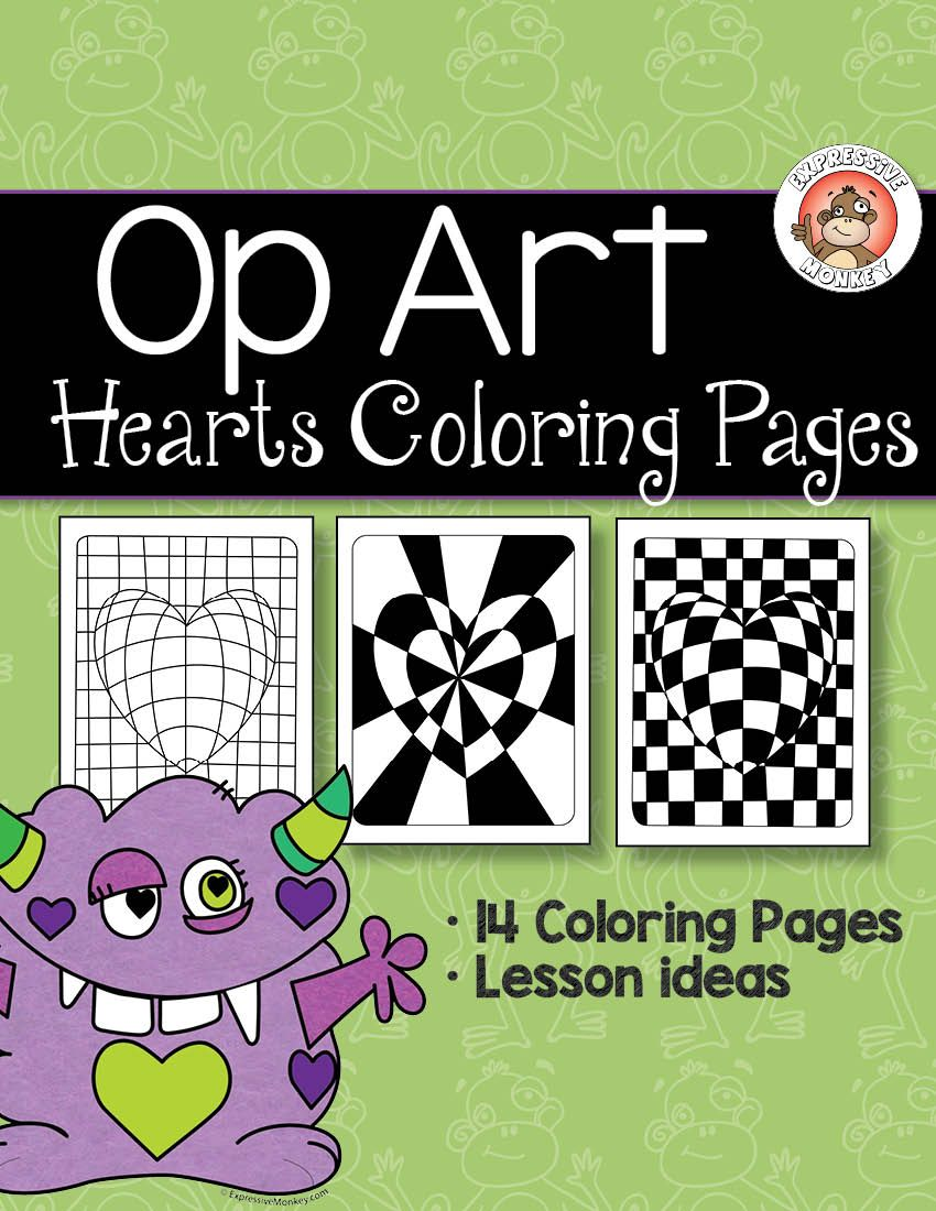 Op Art Hearts Coloring Pages | Pinterest | Op art, Early finishers ...