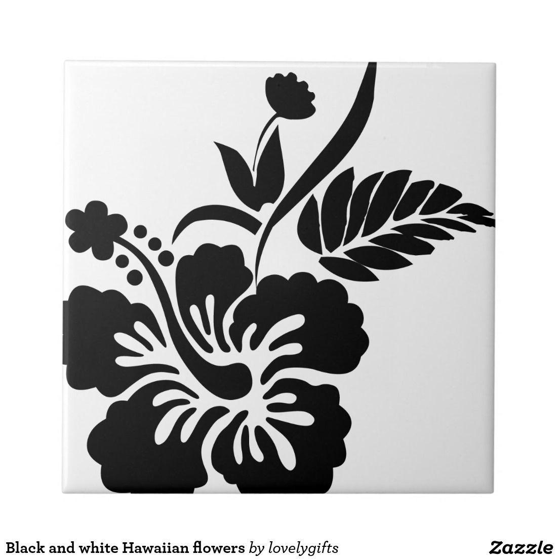 Black And White Hawaiian Flowers Small Square Tile Hawaiiantattoos