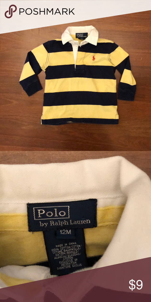 06026382 Ralph Lauren rugby polo Long sleeved Ralph Lauren Polo shirt. Yellow and  navy blue striped with white collar. Good used condition. Smoke free home.