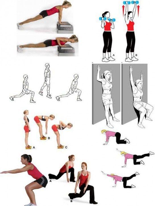 Физические упражнения чтобы похудеть в картинках