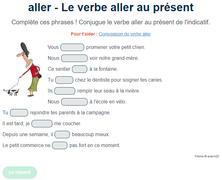 Exercice De Conjugaison Le Verbe Aller Au Present Verbe Aller Au Present Verbe Aller Aller Au Present