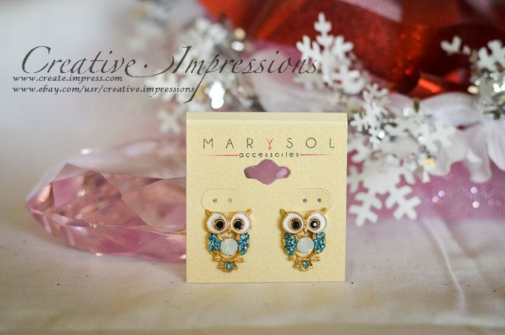 Multi Aqua Rhinestone Owl Earrings