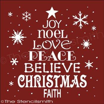 1853 Christmas Word Tree Holiday Tree Christmas Stencil