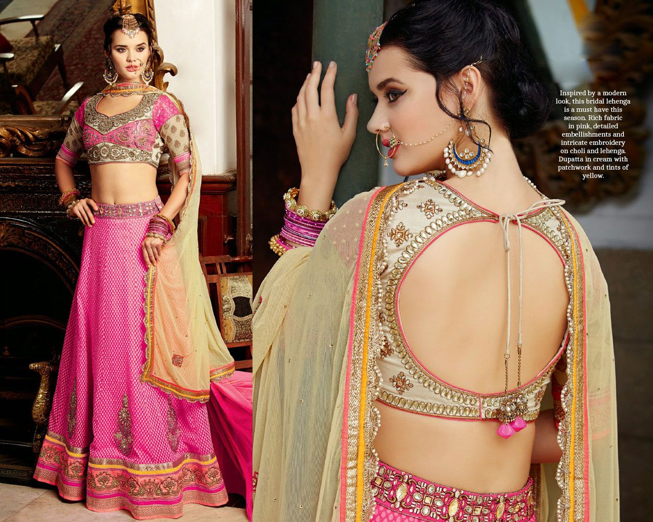 Light Pink Banarasi Silk Wedding Chaniya Choli 42583