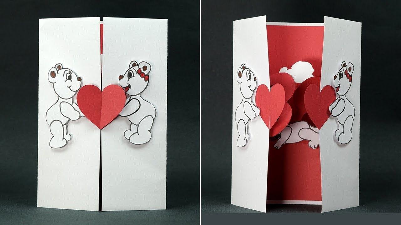 Handmade Valentine Diy Card Kissing Couple Pop Up Card Diy Valentines Cards Valentine Cards Handmade Greeting Cards Handmade