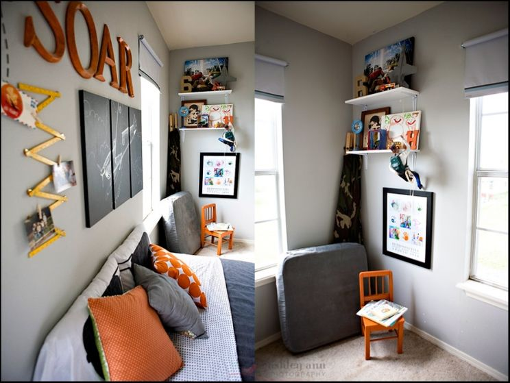 Shared Boys Geometrical Bedroom: Orange. Airplanes. Not Girly {shared Boy's Bedroom ...