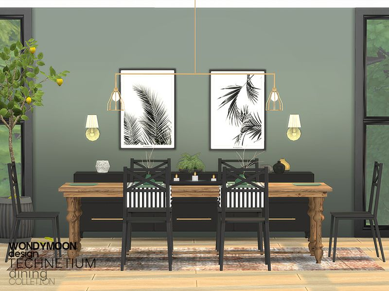 Technetium Dining Found In Tsr Category Sims 4 Dining Room Sets Dining Room Sets Sims House Sims 4 Cc Furniture