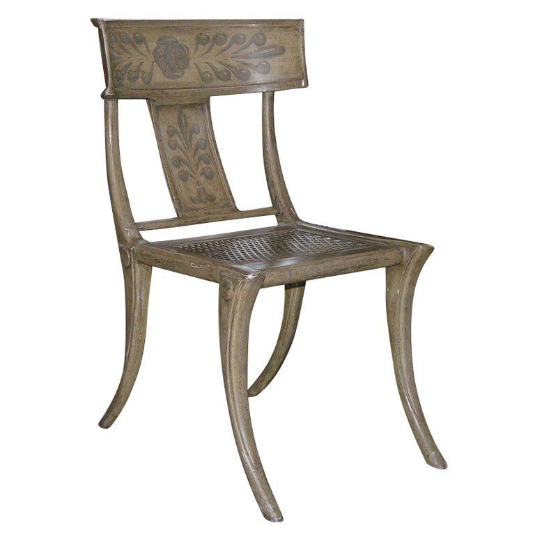 Modern Klismos Chair: Swedish Neoclassical Painted Metal Klismos Chair