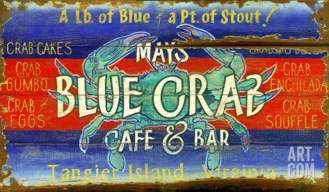 Blue Crab Vintage Wood Sign at Art.com
