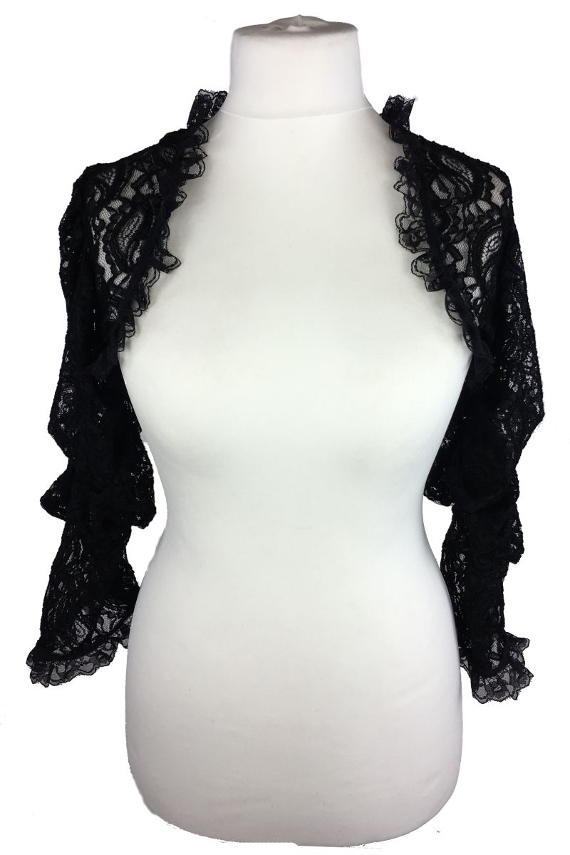 9f8dc39f31fef Phaze Gothic Bolero. Luna Lace Shrug. This beautiful black lace bolero has  rouching detail on the sleeves for a slightly puffed effect and ruffled lace  trim ...