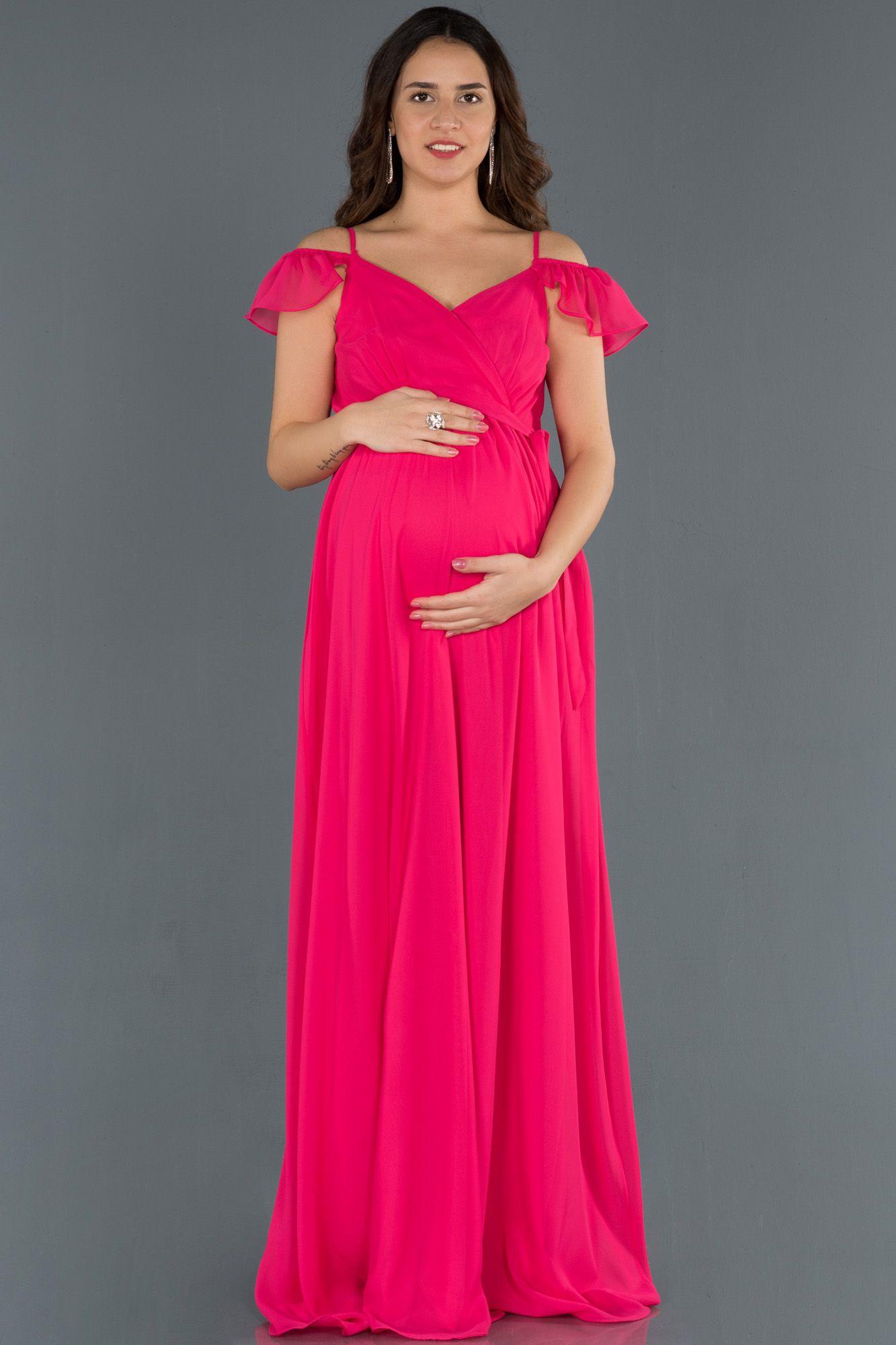 Kan Portakali Kollari Volanli Hamile Abiye Abu756 2020 Elbise Modelleri Elbise The Dress