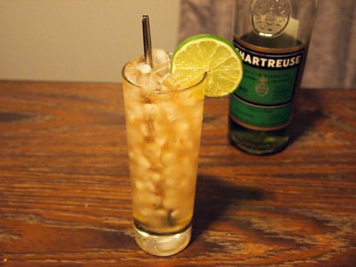 surfer on acid swizzle: tequila, coconut water, lime, pineapple syrup, chartreuse.