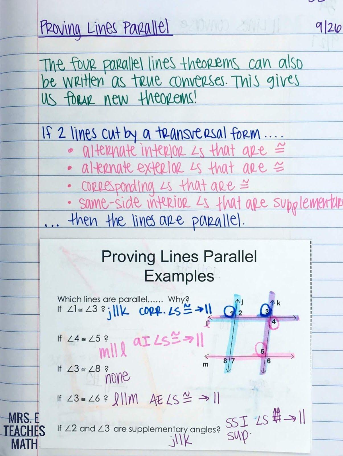 Parallel Lines Inb Pages Teaching Geometry Algebraic Proof Worksheet Template