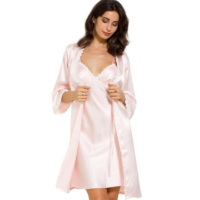 e7a50509a5cb COSWE Satin Silk Womens Bathrobe Set Sexy Nightgown Dress Skirt Suit For Women  Robe Sets Dressing Gown Suits Wedding Bathrobes