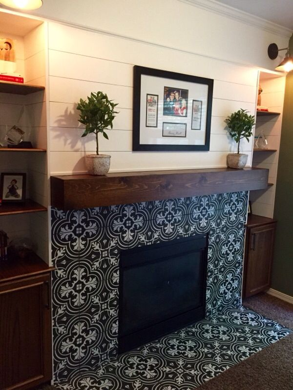Plank Wall Fireplace Modern Rustic Fireplace Encaustic
