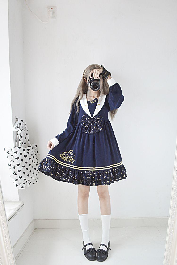 Encore original star collection autumn and winter new Japanese soft sister star navy collar long sleeve dress - Taobao (Có hình ảnh)
