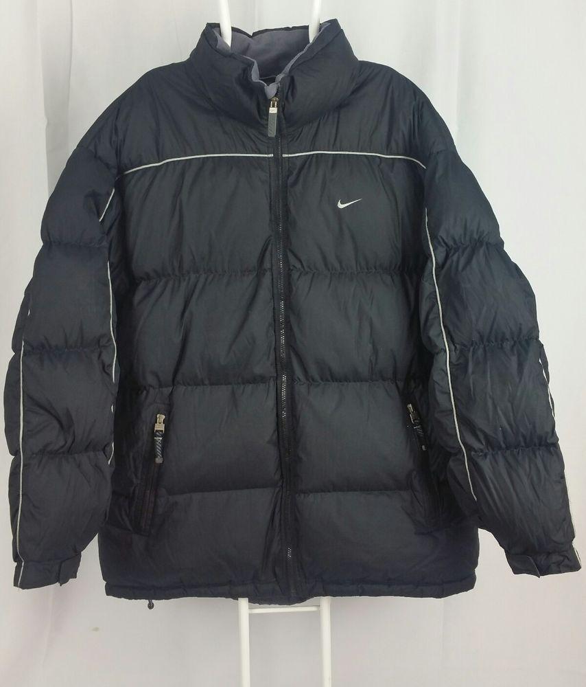 Vtg Nike Xxl Black Puffer Heavy Down Feather Full Zip Winter Sport Coat Jacket Nike Puffer Black Puffer Jackets Sport Coat [ 1000 x 854 Pixel ]