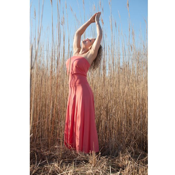 Bandeau Maxi Dress in Coral or Black Bamboo