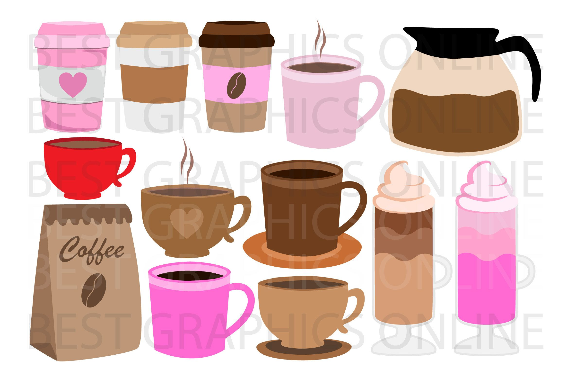 Coffee Clipart Digital Coffee Coffee Cups Coffee Mugs Latte