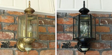 Painting outdoor light fixtures Light fixture before (left) and after (right) painting.