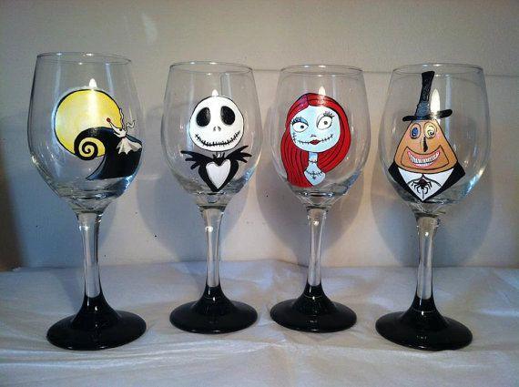 nightmare before christmas inspired wine glass by themadpainterva 7200