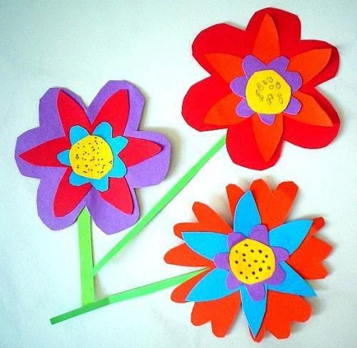 Bunte Blumen - Pflanzen Basteln - Meine Enkel und ich Basteln - blumen basteln