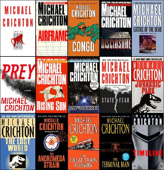Image result for michael crichton books