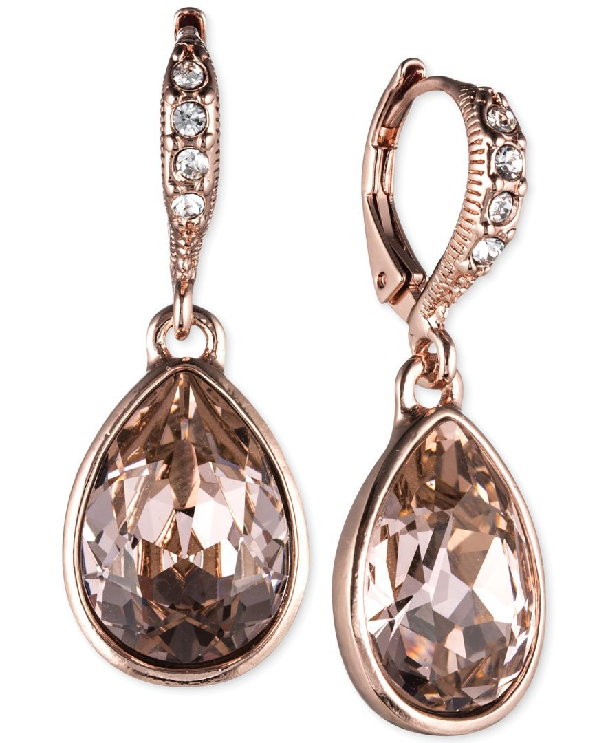 Vintage gold peach pink oval crystal dangling drop antique statement earrings