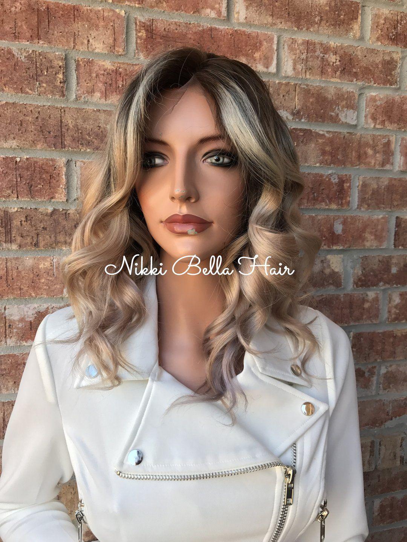 Ash Blonde Balayage Ombré Human Hair Multi Parting Full Lace Wig #lightashblonde