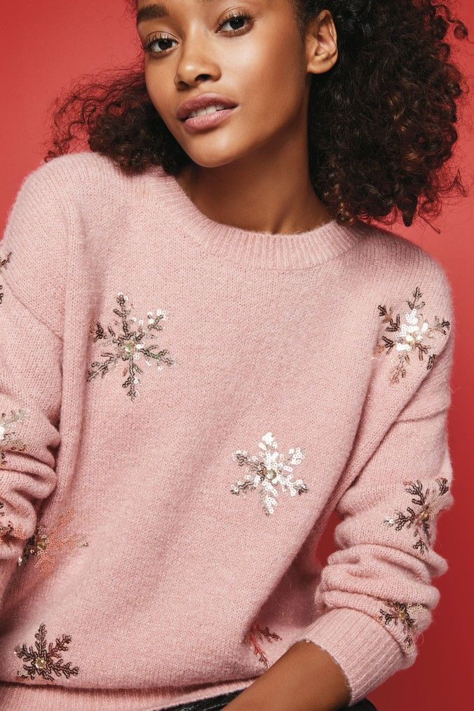 Womens Next Blush Sequin Snowflake Sweater Pink