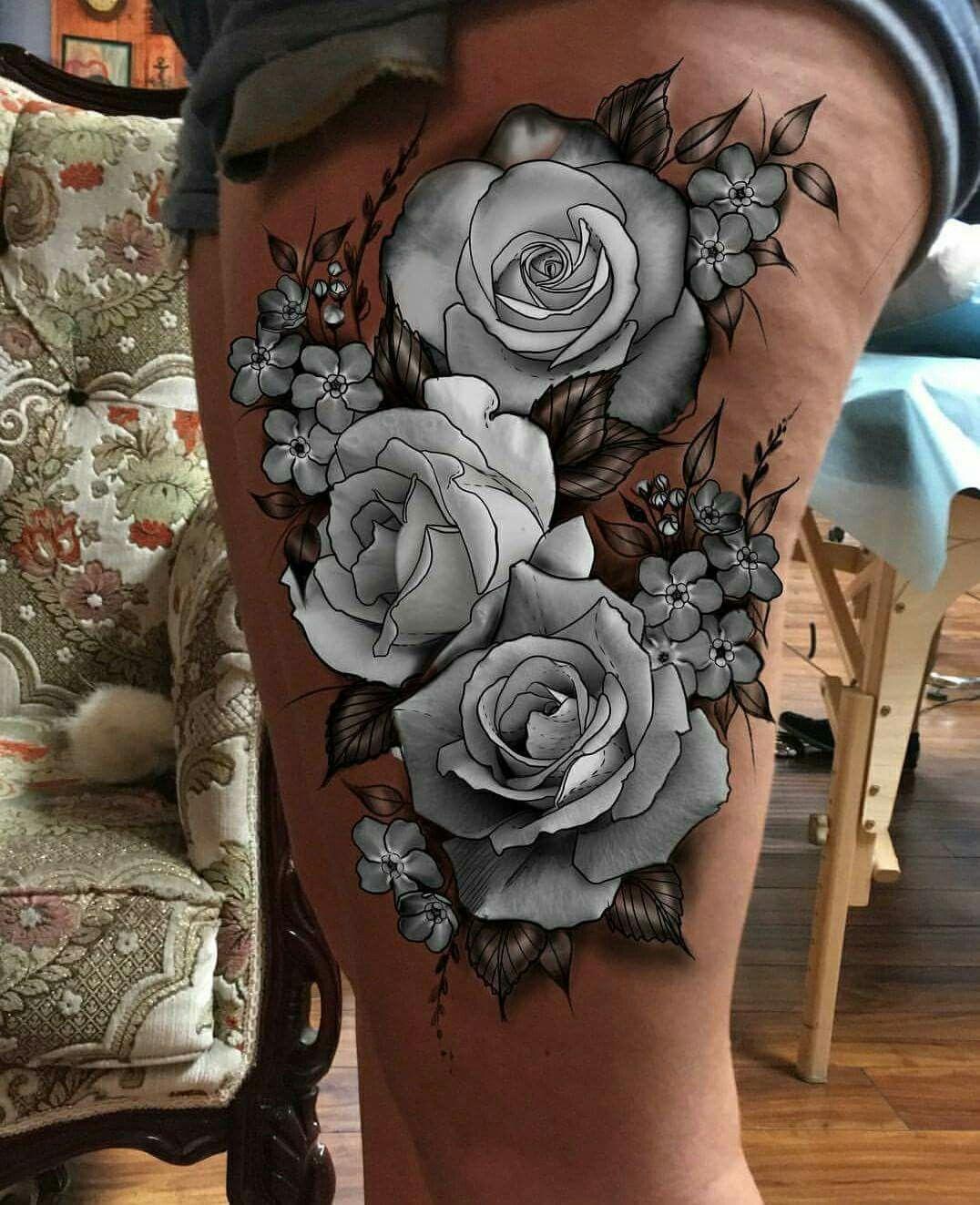 White roses tattoo | White rose tattoos, Rose tattoos ...