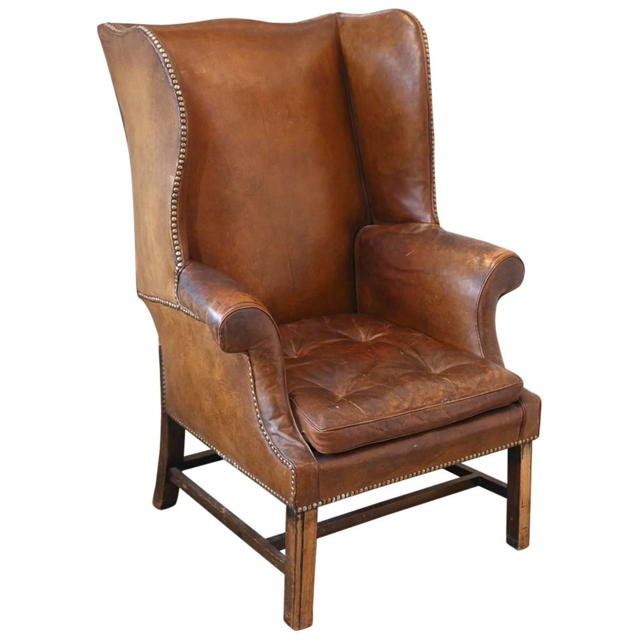 Custom modern chippendale wing chair by ethan allen at 1stdibs - French Leather Wingback Chair From The 1920s