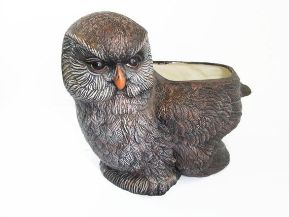 Owl Planter Large Ceramic Owl Planter Manly Office By GirlPickers