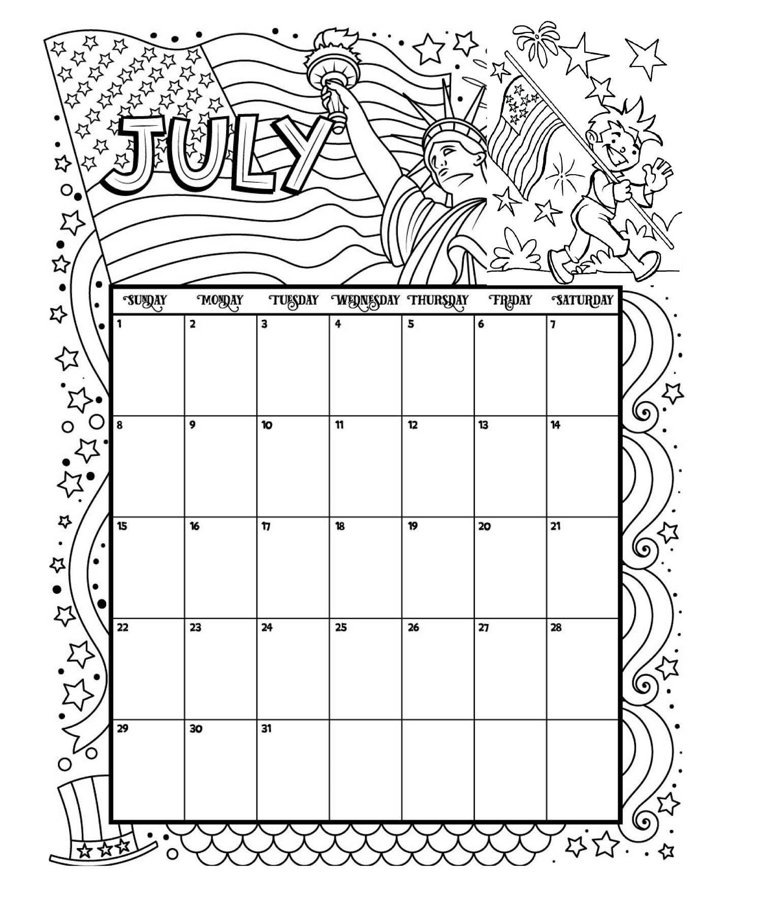 July Printable Coloring Calendar July Calendar Calendar Printable