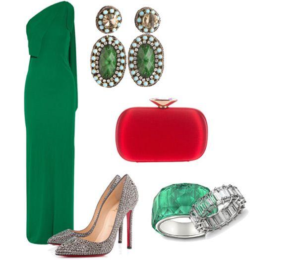 Emerald green dress outfit